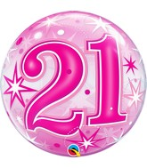 """22"""" Single Bubble Packaged 21 Pink Starburst Sparkle"""
