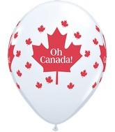 """11"""" White 50 Count Oh Canada Maple Leaf"""