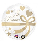 """18"""" Je T'aime Wrapped With Gold Balloon"""