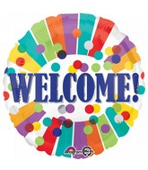 "18"" Welcome Dots & Stripes Foil Balloon"