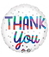 "18"" Thank You Silver Dots Foil Balloon"
