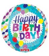 "16"" Orbz Jumbo Happy Birthday Streamer Burst Foil Balloon"