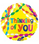 """18"""" Junior Shape Thinking of You Streamers Foil Balloon"""