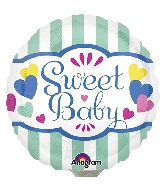 "4"" Airfill Only Sweet Baby Stripes & Hearts Balloon"