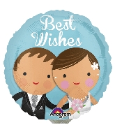 """4"""" Airfill Only Best Wishes Wedding Couple Balloon"""
