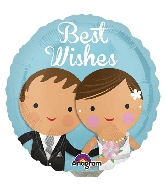 """9"""" Airfill Only Best Wishes Wedding Couple Balloon"""