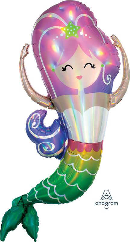 "32"" Iridescent Mermaid Holographic Foil Balloon"