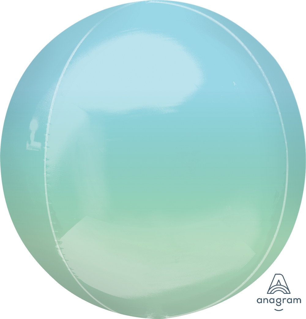 """16"""" Foil Balloon Ombre Orbz Blue and Green"""