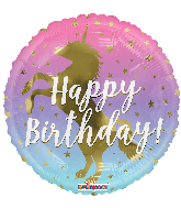 "18"" Birthday Unicorn Silhouette Round Foil Balloon"