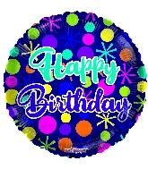 "9"" Birthday Dots Round Foil Balloon"