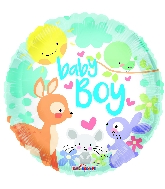 "9"" Baby Boy Animals Round Foil Balloon"