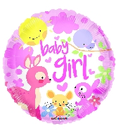 "9"" Baby Girl Animals Round Foil Balloon"