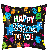 """4"""" Birthday Balloons And Banner Square Foil Balloon"""