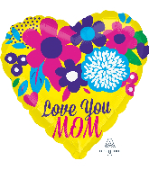 """21"""" Color Blast Love You Mom Bright Flowers Balloon"""