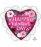 "23"" Happy Valentine's Day Satin Pomegranate Foil Balloon"