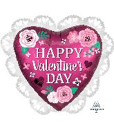 "23"" Happy Valentine's Day Satin Pomegranate Foil Balloon"