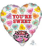 """29"""" Sweet Candy Hearts Singing Foil Balloon"""