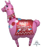 "36"" Happy Valentine's Day Llama Foil Balloon"