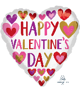 """18"""" Happy Valentine's Day Hand Done Hearts Foil Balloon"""