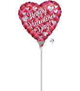 """9"""" Airfill Only Valentine Plaid Foil Balloon"""