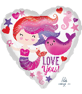 """18"""" Mermaid and Narwhal Love Foil Balloon"""