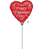 """9"""" Airfill Only Happy Valentine's Day Fancy Foil Balloon"""