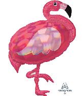 "33"" Iridescent Pink Flamingo Holographic Foil Balloon"