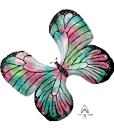 "30"" Iridescent Teal & Pink Butterfly Foil Balloon"