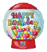 "18"" Happy Birthday Bubble Gum Machine Foil Balloon"