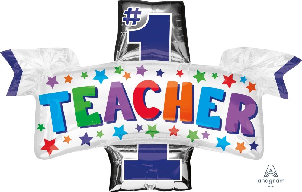 """38"""" #1 Teacher Foil Balloon"""