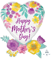 "30"" Happy Mother's Day Watercolor Flowers Foil Balloon"