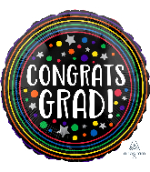 "28"" Congrats Grad Colorful Circles Foil Balloon"