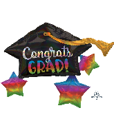 "34"" Iridescent Grad Cap & Stars Foil Balloon"