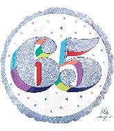 "18"" Holographic Jumbo Number Balloon Shape 65 Foil Balloon"