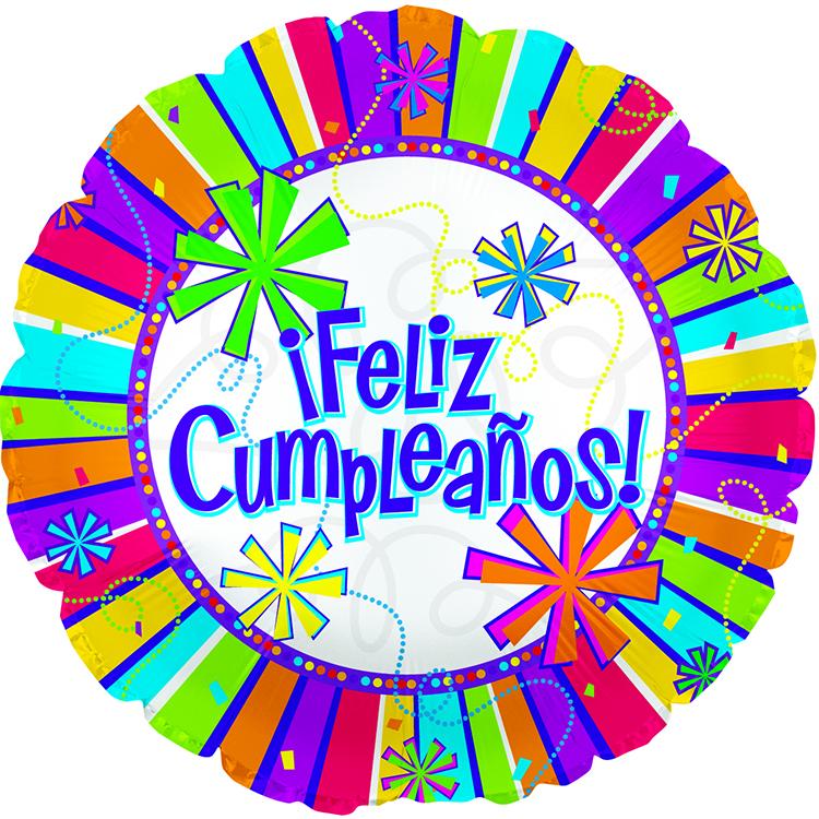 "17"" Feliz Cumpleanos Burst Of Colors  Balloon"