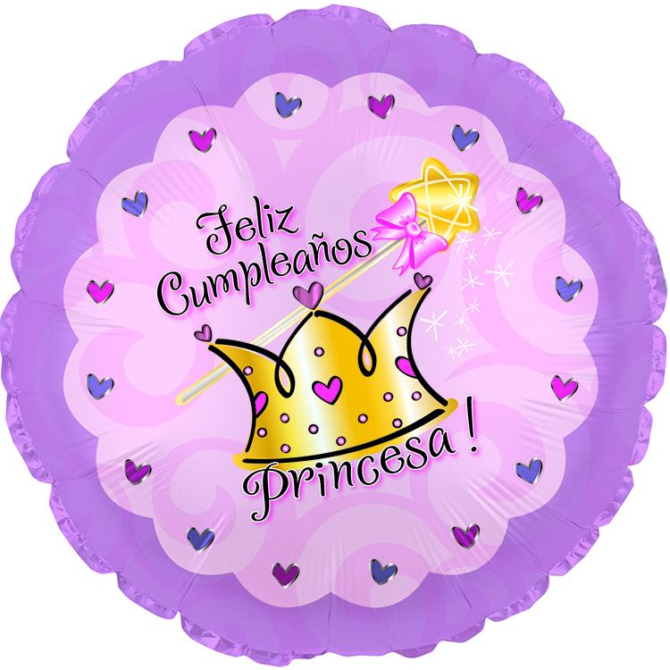 "17"" Feliz Cumpleanos Princesa Balloon"