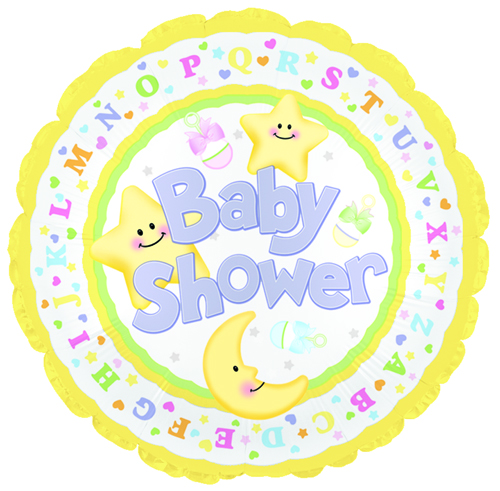 """18"""" Baby Shower Star and Moon"""