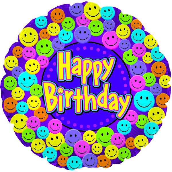 "18"" Happy Birthday Smiley Faces"