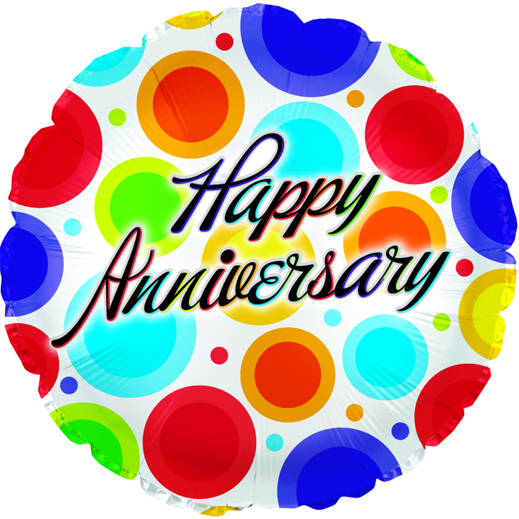 "18"" Happy Anniversary Dancing Dots"