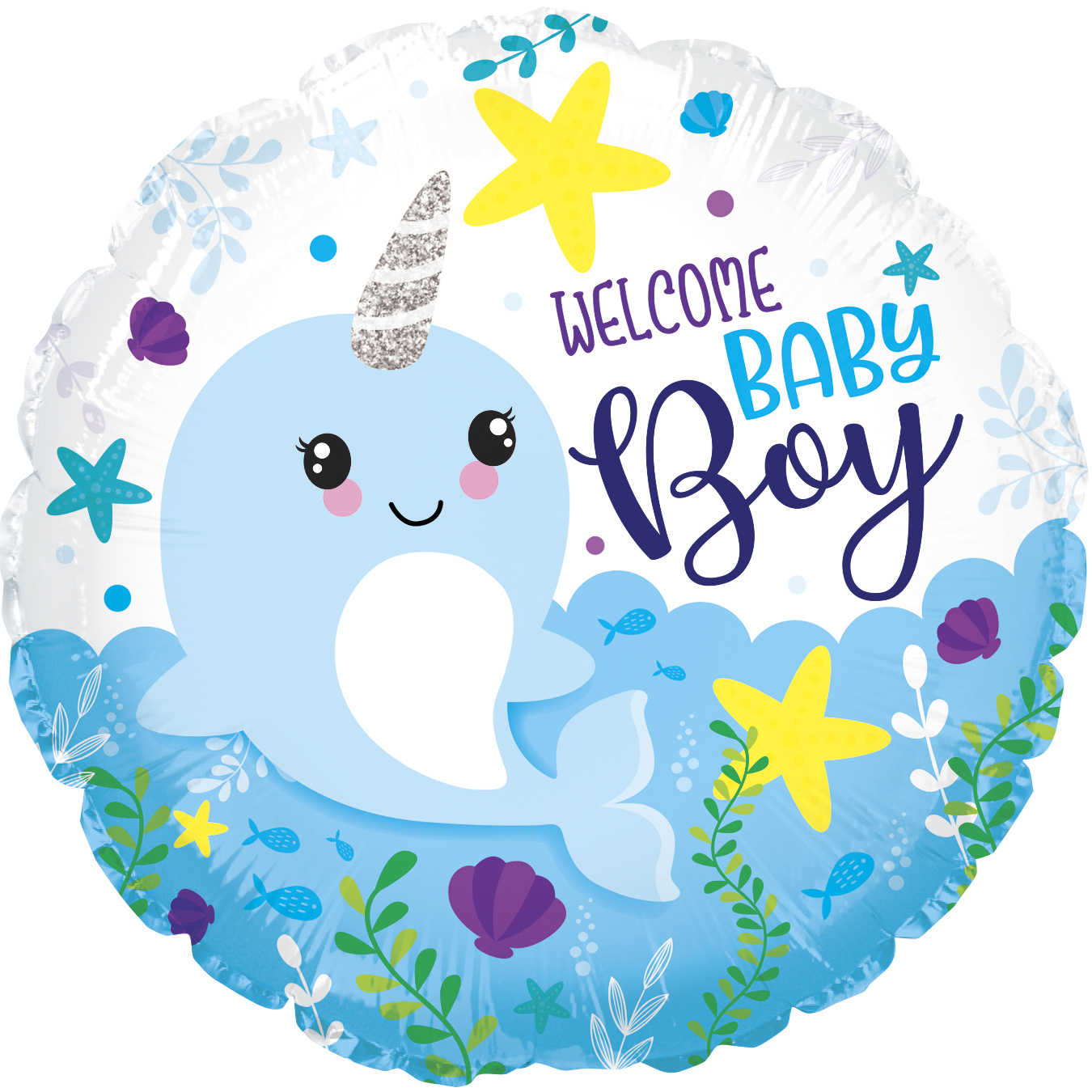 """18"""" Baby Boy Narwhal Foil Balloon"""