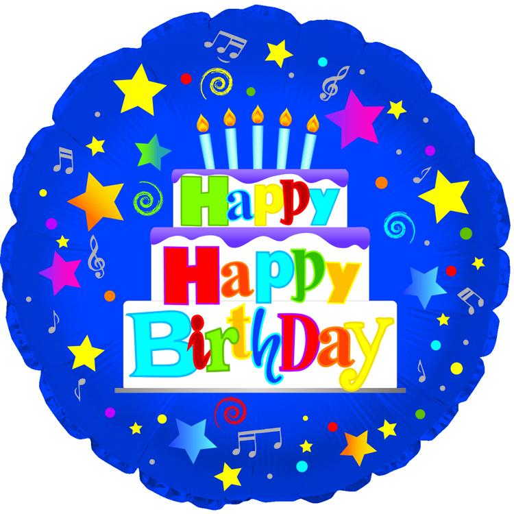 "18"" Happy Happy Birthday Blue"