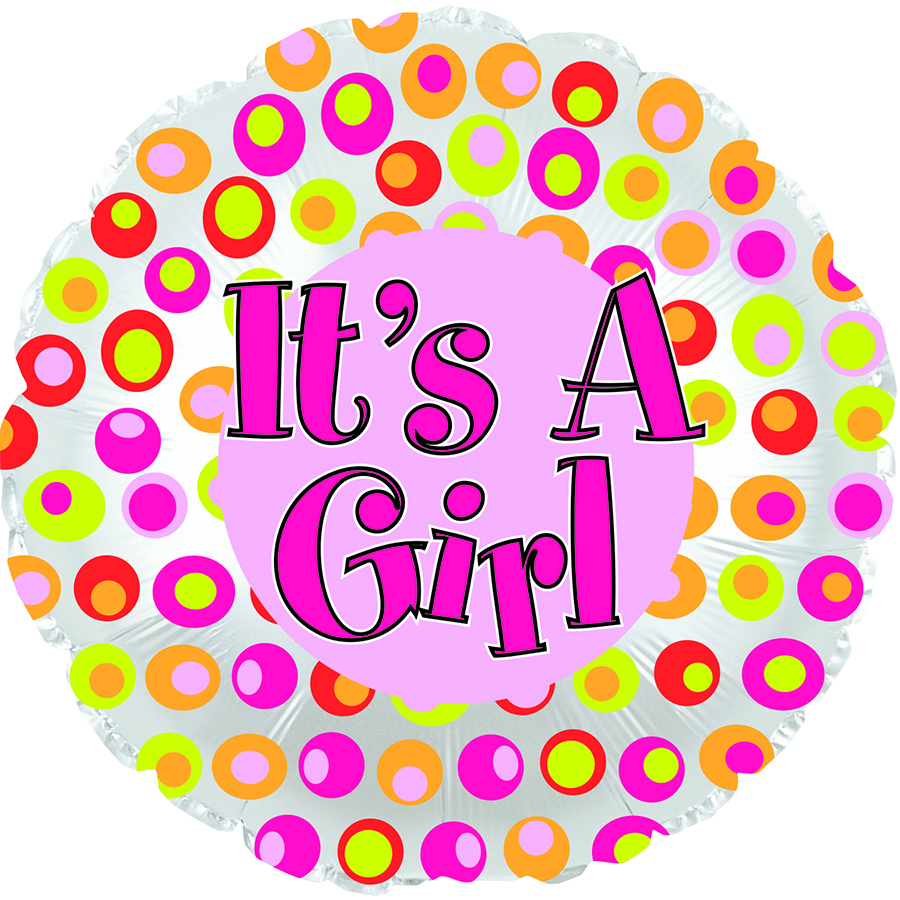 """17"""" It's A Girl Colorful Dots Foil Balloon"""