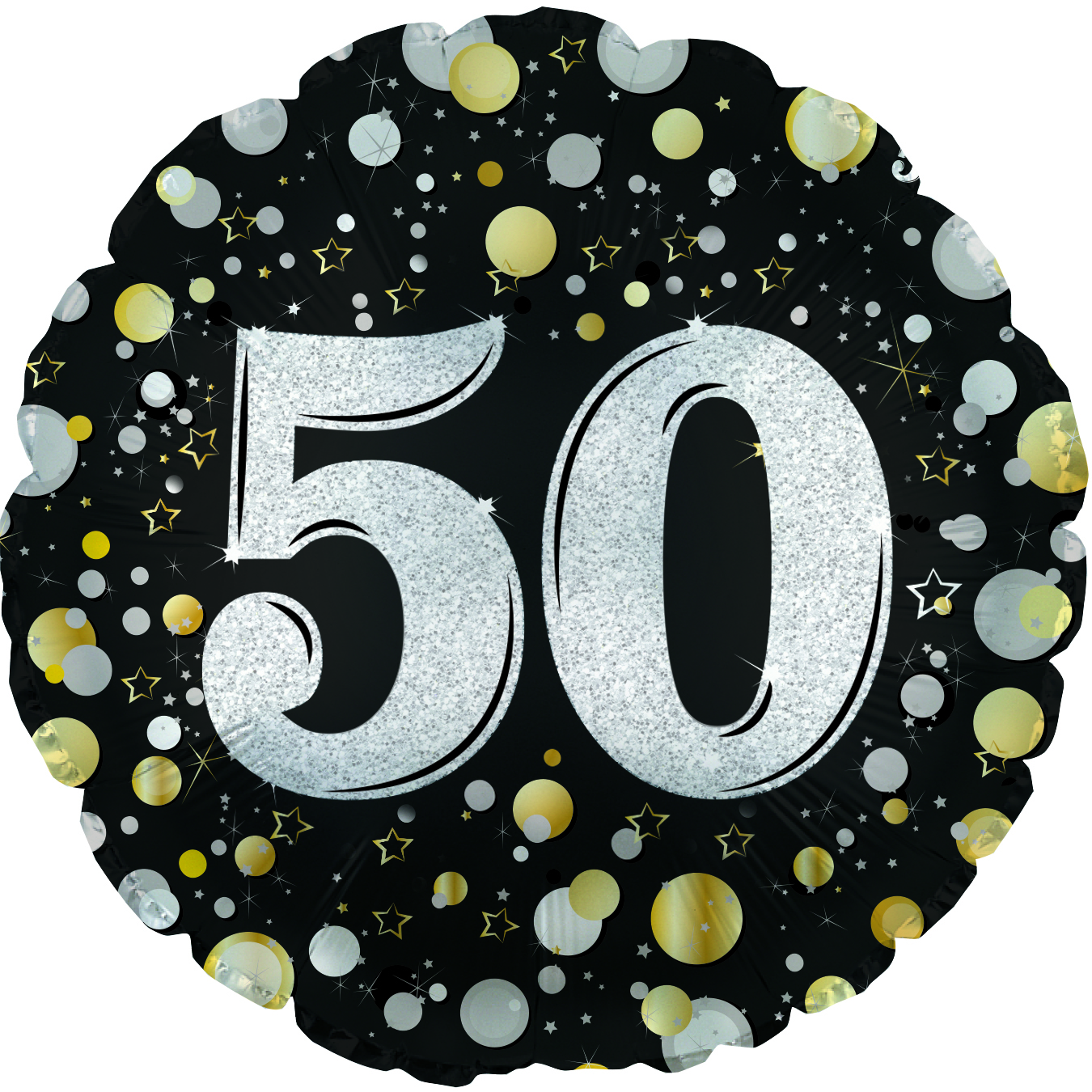 """17"""" Number 50 Silver Sparkles Foil Balloon"""