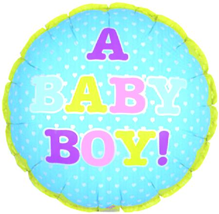 """9"""" Airfill A Baby Boy Tiny Hearts M1"""