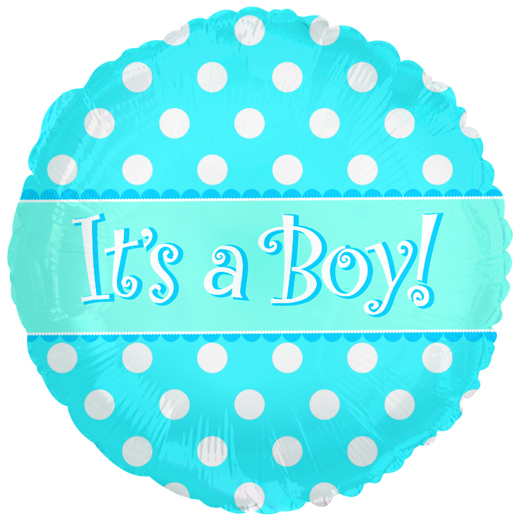 "9"" Airfill Its A Boy Dots Balloon"