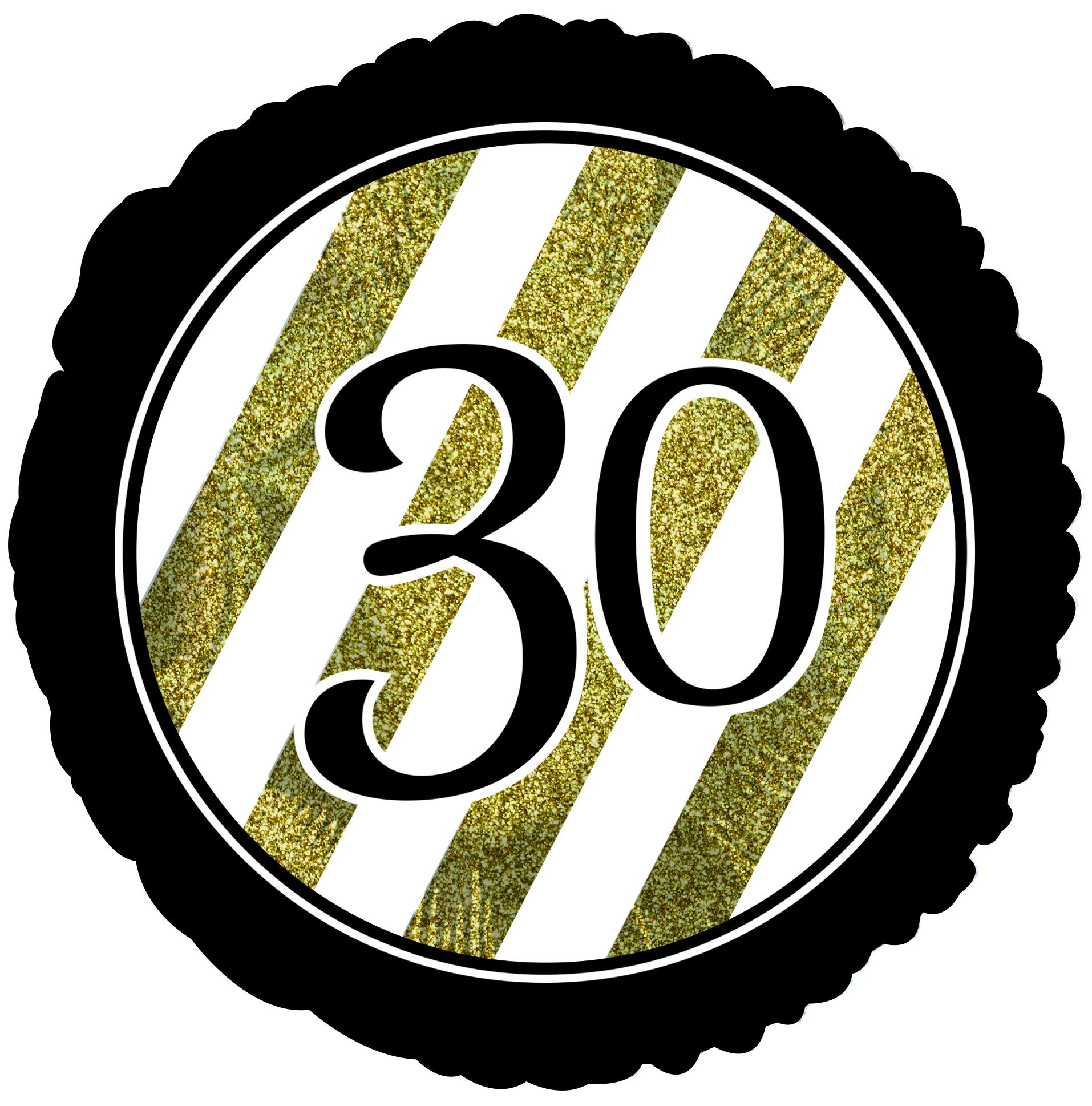 """18"""" 30 Black & Gold Glitter Foil Balloon"""