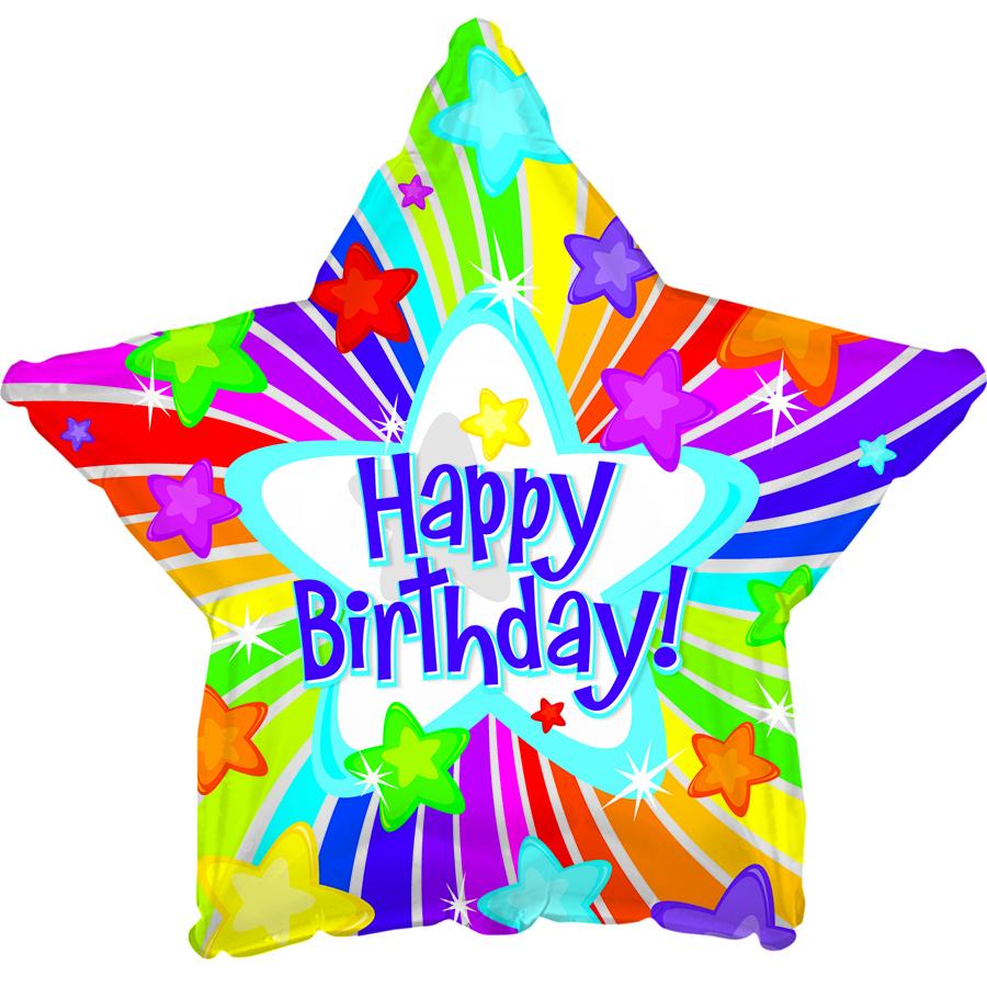 "17"" Happy Birthday Day Bright Stars Balloon"