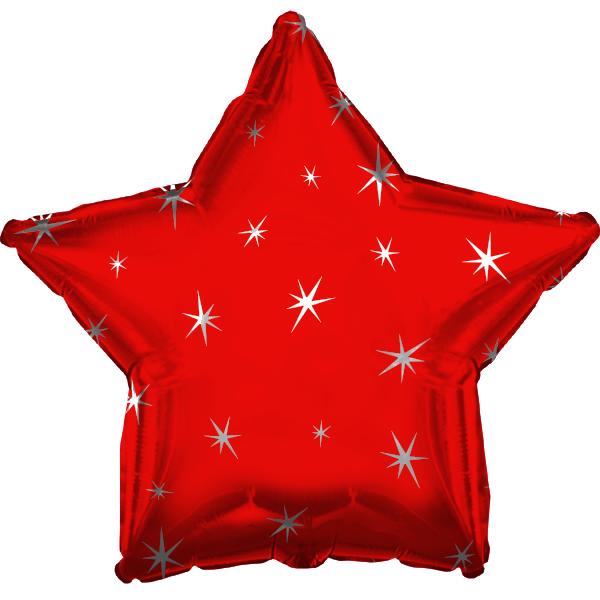 "18"" Red Sparkle Star Foil Balloon"
