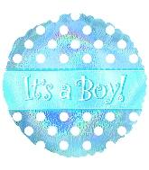 "18"" It`s a Boy Dots Mylar Balloon"