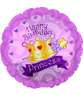"17"" Happy Birthday Day Princess Crown Gems Balloon"